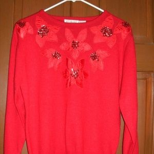 Vintage 1980s Christmas Sweater Red Embellished